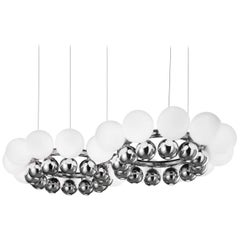 Vistosi 24 Pearls Pendant Light in White & Chrome by Roman Saccani Architects