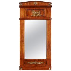 19th Century Empire Period Mahogany and Ormulu-Mounted Wall Mirror
