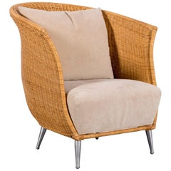 Ligne Roset Rattan Chair One-Seat Brown Fabric