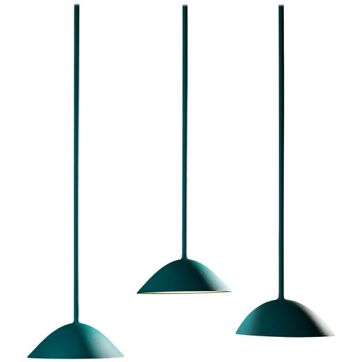 Landscape Pendant Light in Textured Turquoise by Matter Made