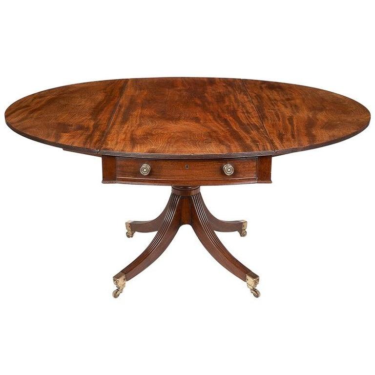 Late 18th Century Mahogany Folding Pedestal Dining Table