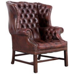 Chesterfield Leather Armchair Wingback Brown One-Seat
