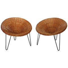 Pair of Armchairs Rattan Contemporary Handmade