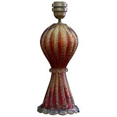 Midcentury Italian Red and Gold Table Lamp with Murano Glass by AVEM