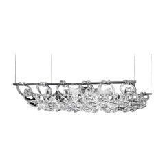 Vistosi Giogali Rectangular Pendant Light in Crystal by Angelo Mangiarotti