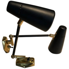 Pair of Stilnovo Black and Rose Gold Lacquered Brass Wall Lamps, 1950s