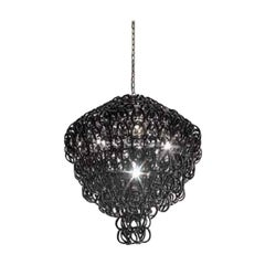 Vistosi Giogali Multi-Tier Pendant Light in Black by Angelo Mangiarotti
