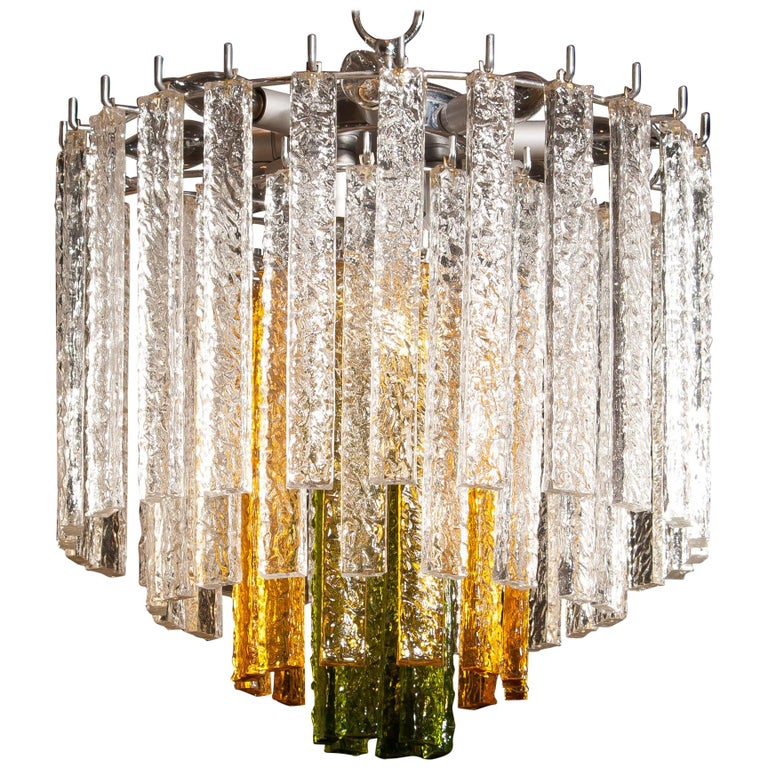 1960s, Murano Venini Tri-Color Chandelier For Sale