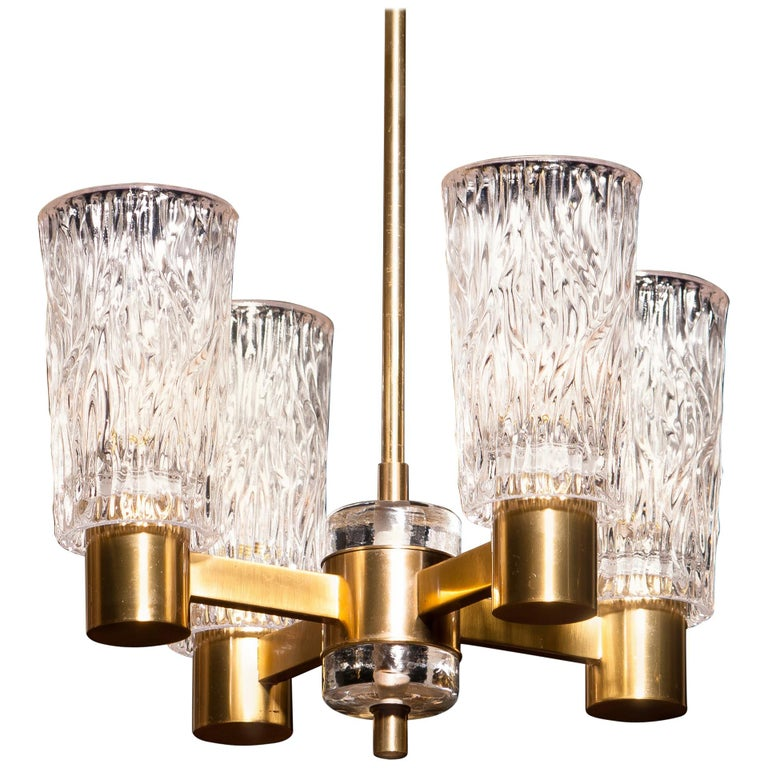 1950s, Brass and Crystal Glass Chandelier by Orrefors For Sale