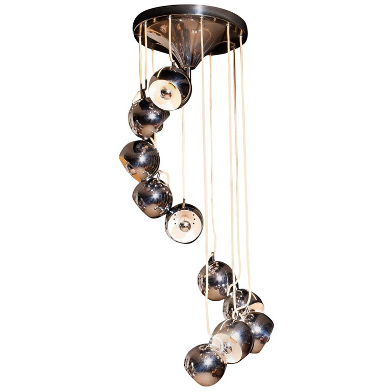 Lampadari Reggiani Chromed Waterfall Chandelier with Ten Adjustable Globes For Sale