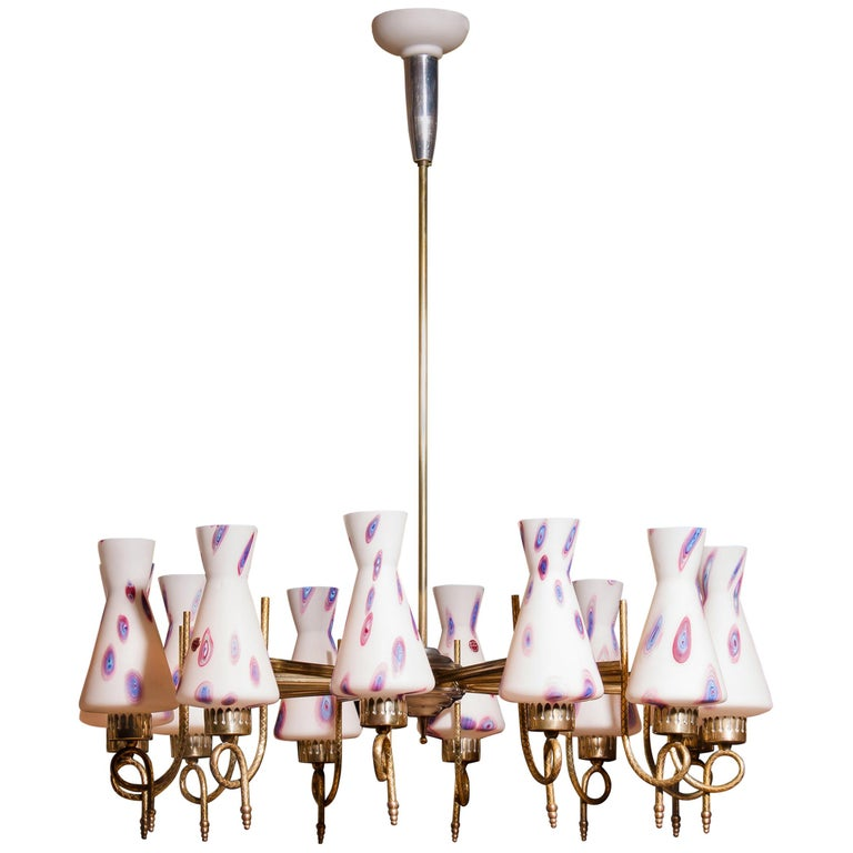 1940s, Large Brass and Multicolored Murano Venini Glass Chandelier For Sale