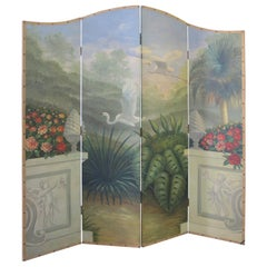 Glamorous Vintage Hand-Painted Folding Screen