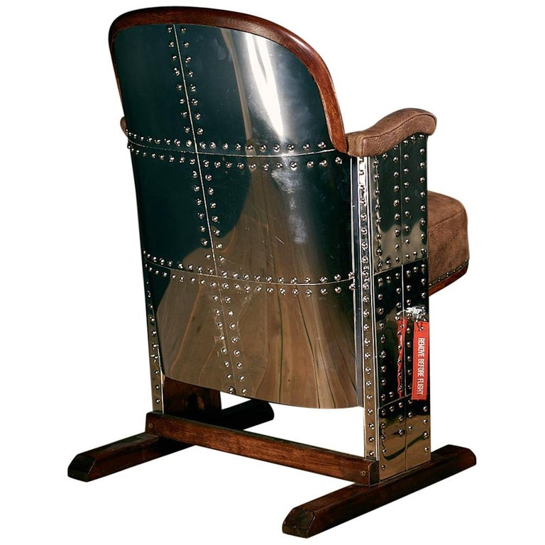 1950s Stainless Steel Wooden Pilot Cinema Armchair