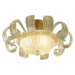 Vistosi Gloria Flush Light in Silk and Gold by Studio Tecnico