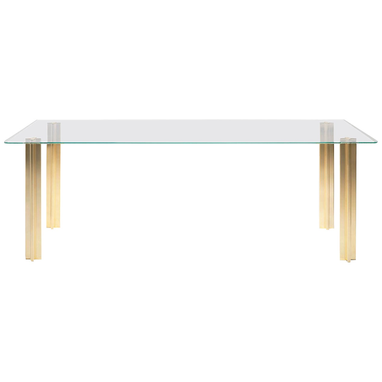 Gold Contemporary Rectangular Table, Glass Top and Gold-Plated Aluminium Legs
