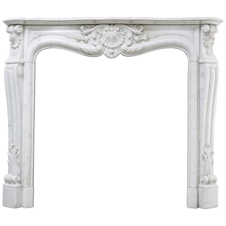 Antique Marble Fireplace of Carrara Marble, Louis XV, 19th Century