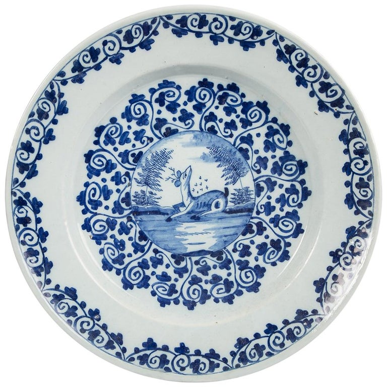 Blue and White Delft Charger with Deer