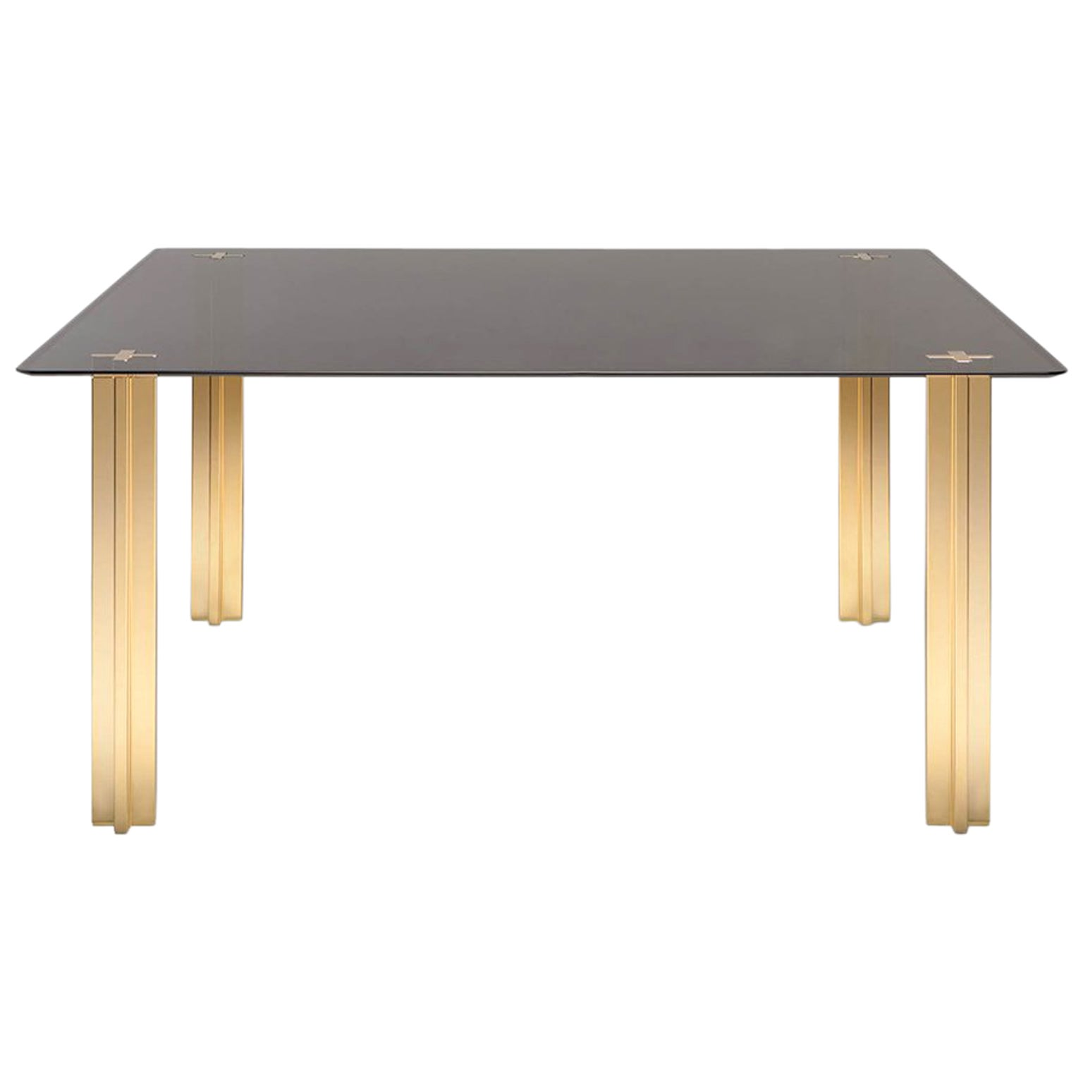 Gold Contemporary Square Table, Glass Top and Gold-Plated Aluminium Legs