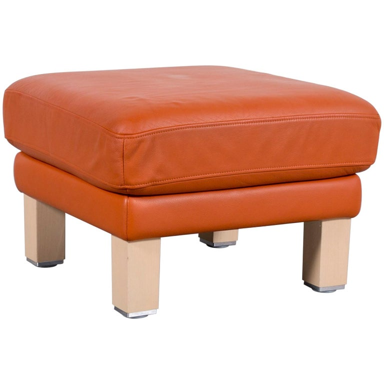 Rolf Benz Leather Foot-Stool Orange Bench