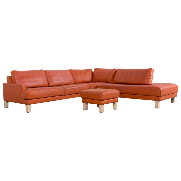Rolf Benz Designer Leather Corner Sofa Set With Bench In Orange For