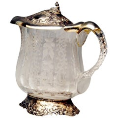 Silver Tall Wine Jug Pitcher Silver Mountings Cut Glass Germany, Made circa 1880