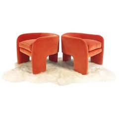 Vladimir Kagan Armchairs Restored in Loro Piana Orange Velvet with Sheepskin Rug