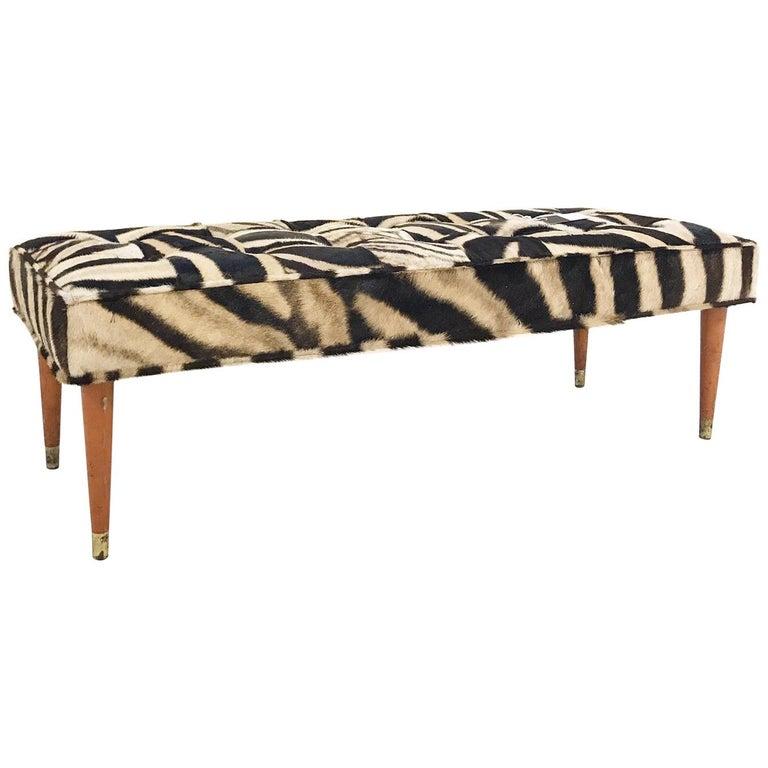 Vintage Milo Baughman Style Bench Restored in Patchwork Zebra Hide