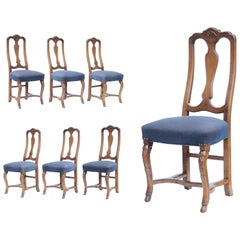 Six Vintage Swedish Rococo French Style Shell Hoof Foot Walnut Dining Chairs