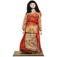 Japanese Kimekomi Girl Doll Wearing Silk Kimono, Style of Taisho Romence, 1920s