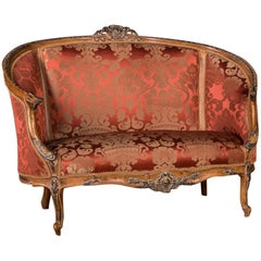 French Sofa Kanapee Canape in Louis Seize Style with Red Ornamental Upholstery
