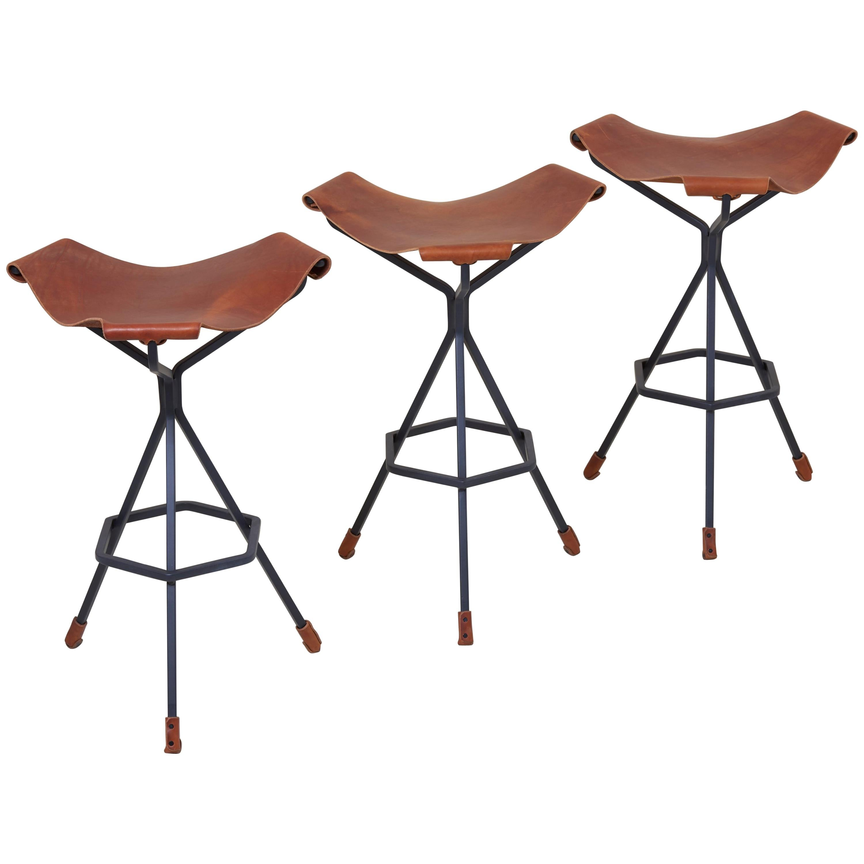 Set Of Three Bar Stools By Dan Wenger, US
