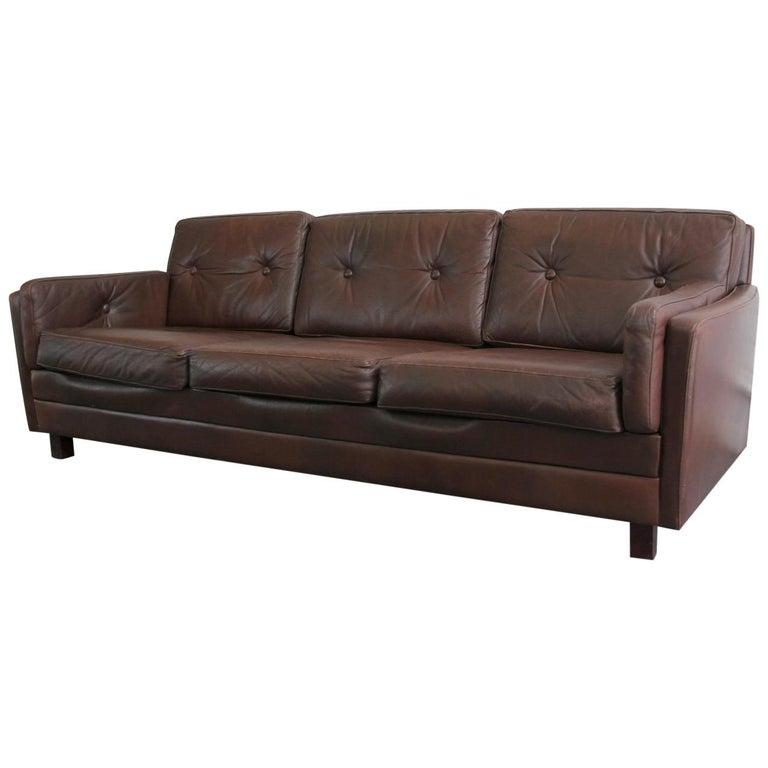 Midcentury Danish Leather Sofa, circa 1950s