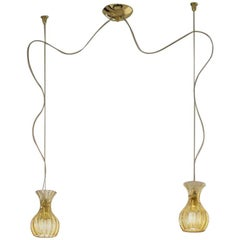 Vistosi Comari Pendant Light Pair in Topaz by Studio Tecnico, Small