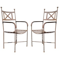 Vintage Neoclassical Regency Style Iron X-Form Stretcher Garden Armchairs, Pair