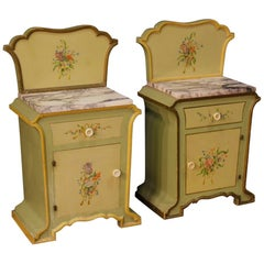 Pair of Italian Bedside Tables in Painted Wood in Art Nouveau Style 20th Century