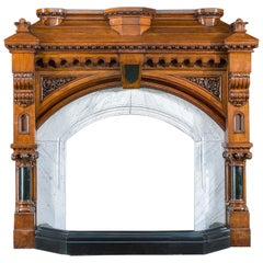 Gothic Revival Carved Oak Fireplace Mantle