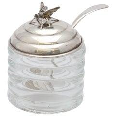 Unusual Art Deco Sterling Silver Mounted Honey Jar with Original Honey Spoon