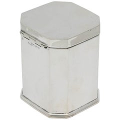 Beautiful Edwardian Sterling Silver Tea Octagonal Caddy with Hinged Lid