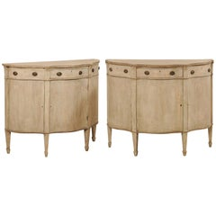 Pair of Italian Early 20th Century Painted Wood Demilune Console Chests