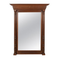 Antique Overmantel Mirror Victorian, Classical Revival, Wall, Walnut, circa 1880
