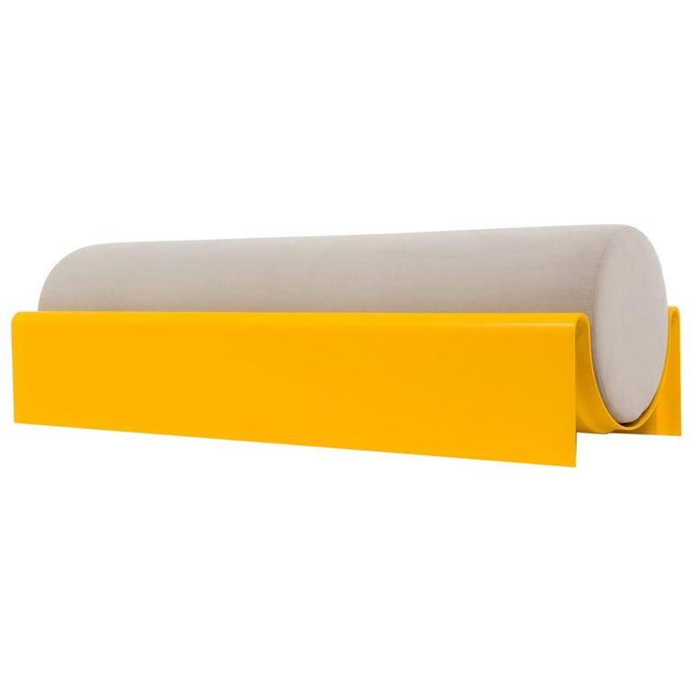 'Monitor' Fiberglass Upholstered Bench, Yellow