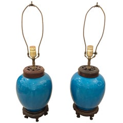 Fabulous Pair of Bright Turquoise Chinese Ginger Jar Lamps on Hardwood Stands