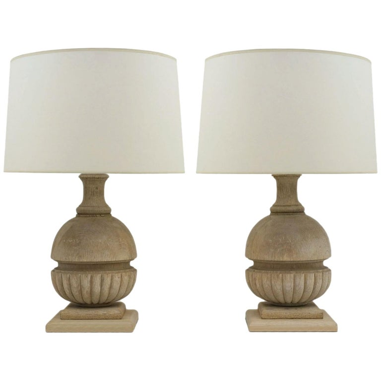 Pair of Bleached and Carved Wood Lamps