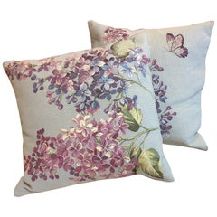 French Pair of Pastel Butterfly and Lilac Motif Tapestry Pillows