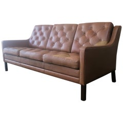 1970s Danish Midcentury Leather Sofa in the Style of Borge Mogensen