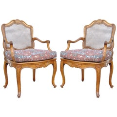 Vintage French Country Louis XV Style Carved Cane Back Fauteuil Armchairs, Pair