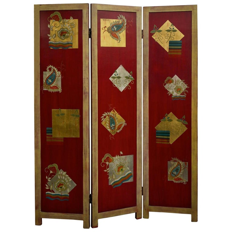 1920s Three Panel Folding Screen For