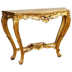 Italian Console in Lacquered, Gilded and Painted Wood from 20th Century