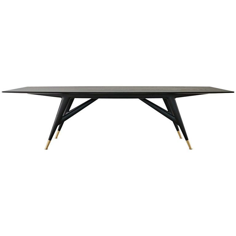 MolteniC Gio Ponti D Ash Black Wood Rectangular Dining Table - Black wood rectangular dining table