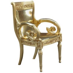 Pescetta Contemporary Shiny Gold Leather Giltwood Chair